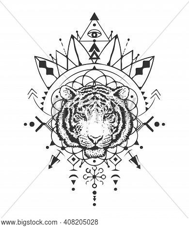 Sacred Tiger. Tiger Head. Sacred Geometry. Detailed Drawing Of A Tiger. T-shirt Print. The Symbol Of