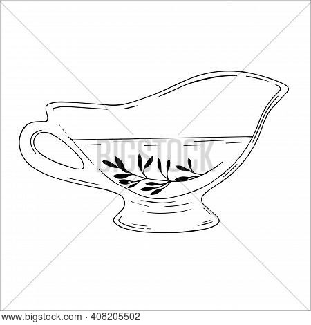 Drawing Of A Glass Gravy Boat With Oil On A White Background. Vector Illustration Of Sauce Container