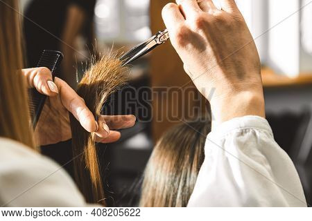 The Master Hairdresser Cuts The Ends Of The Girls Hair After Washing And Before Styling In The Beaut