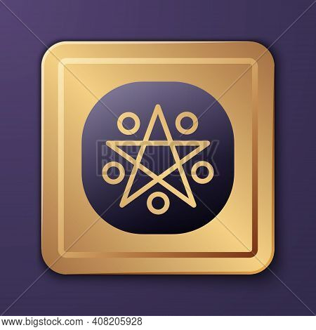Purple Pentagram In A Circle Icon Isolated On Purple Background. Magic Occult Star Symbol. Gold Squa