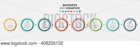 Business Infographic Design Template Vector With Icons And 8 Eight Options Or Steps. Can Be Used For