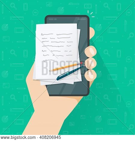 Storytelling Content Creation Or Writing Article On Mobile Cell Phone Vector Flat Cartoon Illustrati