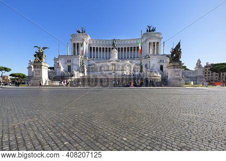 Rome, Italy - October 8, 2020: Victor Emmanuel Ii Monument (monumento Nazionale A Vittorio Emanuele