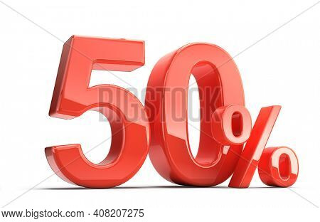 Fifty 50 percent. Red Fifty percent sign on white. Percentage, sale, discount concept. 3d rendering