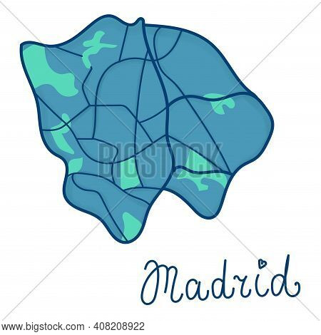 Cartoon Colored Flat Map Of The Center Of Madrid. Funny Cute European Spanish City Map. Vector Illus