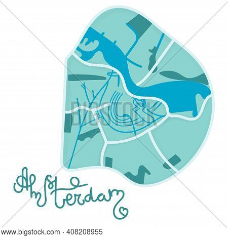 Cartoon Colored Flat Map Of The Center Of Amsterdam. Funny Cute European Netherlands City Map. Vecto