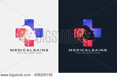 Medical Science Logo Design. Modern Medical Cross Symbol Combine With Abstract Intelligence People L