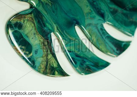Half Monstera Leaf With Various Overflows Of Green Color Handmade Made In Resin Technique Art From E