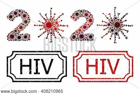 Collage 2020 Virus Year Composed Of Covid Items, And Grunge Hiv Rectangle Seals With Notches. Vector