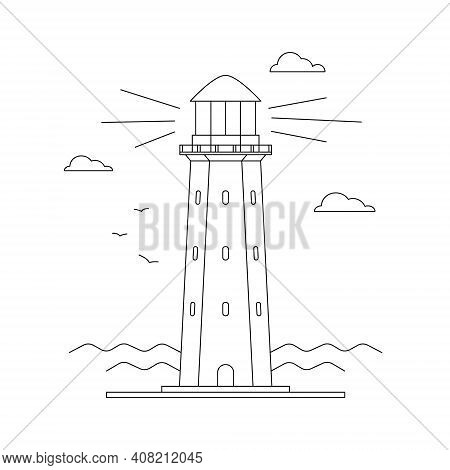 Line Art Vector Of Lighthouse Building With Sea Ocean Water Landscape, Path Lighting. Searchlight To