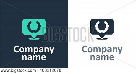 Logotype Laurel Wreath Icon Isolated On White Background. Triumph Symbol. Logo Design Template Eleme