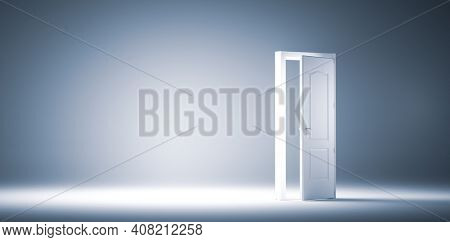 Wide open door. Faith, hope and option for future success. Conceptual 3D illustration