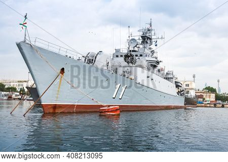 Varna, Bulgaria - July 16, 2014: Frigate Smely Of Bulgarian Navy Stands Moored At Varna Naval Base.