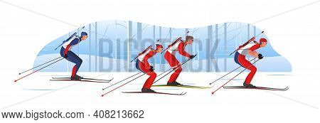 Biathletes In Sportswear With Riffles Are Skiing. Male Athletes Participate In Winter Sports Sprint
