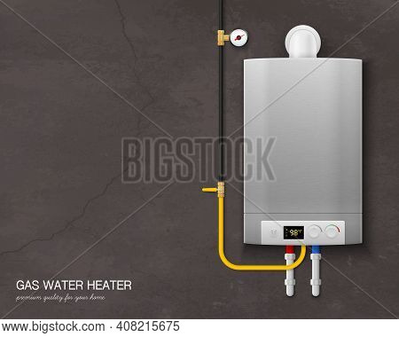 Colored And Realistic Gas Water Heater Boiler Composition With Tools On The Wall On Gray Background