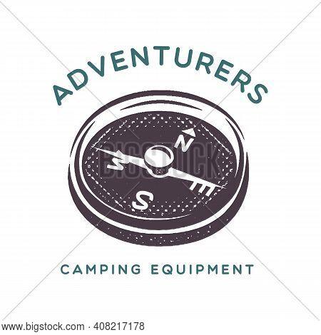 Camping Adventure Logo Emblem Illustration Design. With Compass Symbol And Text - Adventurers Campin