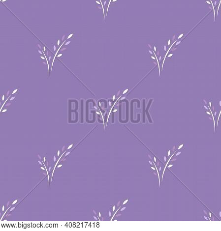 Seamless Floral Pattern With Lavender Flowers. Floral Texture On Violet Background. Hand Drawn Shabb