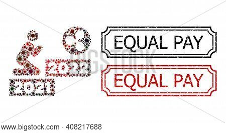 Mosaic Man Pray Ripple 2022 United From Covid-2019 Items, And Grunge Equal Pay Rectangle Seal Stamps