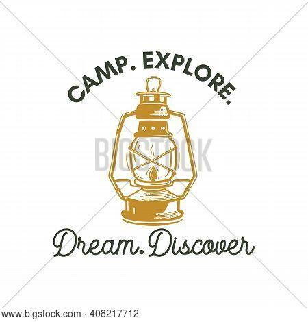 Camping Adventure Logo Emblem Illustration Design. Vintage Outdoor Label With Camp Lantern And Text