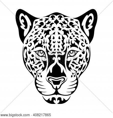 Hand Drawn Abstract Portrait Of Leopard Or Jaguar. Vector Stylized Illustration For Tattoo, Logo, Wa