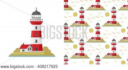 Vector Cartoon Flat Lighthouse. Searchlight Tower For Maritime Navigational Guidance. Vector Sea Pat
