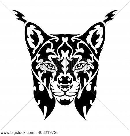 Hand Drawn Abstract Portrait Of A Lynx. Vector Stylized Illustration For Tattoo, Logo, Wall Decor, T