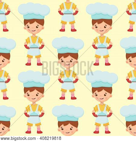 Pattern Of Chef Illustration On Isolated Background. Pattern Baker Boy. Pattern Of Cook Illustration