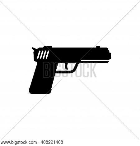 Gun, Military Handgun, Pistol Weapon. Flat Vector Icon Illustration. Simple Black Symbol On White Ba