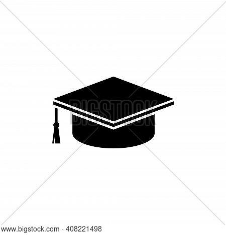 Graduation Cap, Student Toga Hat. Flat Vector Icon Illustration. Simple Black Symbol On White Backgr