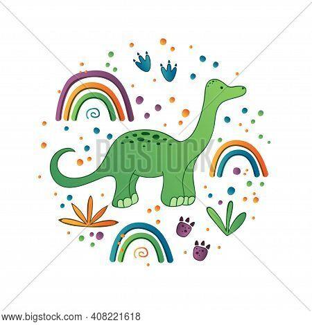 Cute Dinosaur Vector Print For Kids. Dino With Rainbow. Cute Dino Print For Decor.