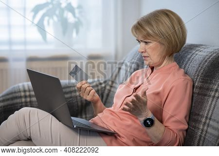 Nervous Confused Senior Woman, Stressed Worried Angry Lady Having Problem With Paying, Buying Online