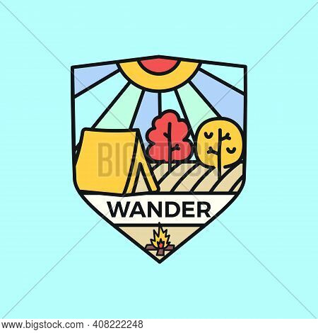Wander Logo Emblem Template, Adventure Label Design With Tent And Trees. Unusual Line Art Retro Styl