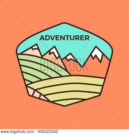 Vintage Adventurer Line Art Logo Emblem Template, Adventure Badge Design With Mountains. Unusual Lin