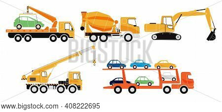 Set Of Special Transport. Special Machines For Construction Work. Concrete Mixer, Crane, Tow Truck,