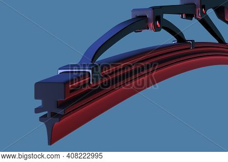 Windscreen Wiper Blade On A White Background. Wiper Blade For Car. Spare Parts, Auto Parts For Drive