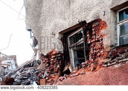 Pile Of Demolition Rubble. Gray Rubble At A Building Site. Concrete Rubble Debris On Construction Si