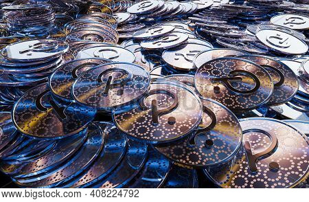 Cryptocurrency Polka Dot Golden Coins Spilling On The Table.crypto Investment Concept Background
