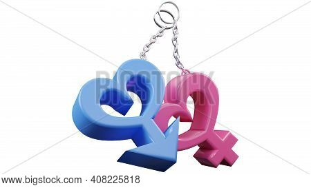 3d of gender icon man and woman. Sex symbol. Gender icon male and female symbol. Gender symbol pink