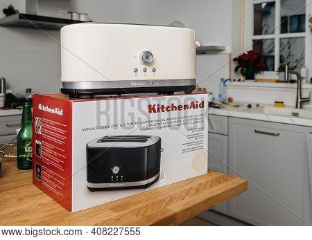 Paris, France - Feb 1, 2021: Unboxed Hero Object Holding New Kitchenaid 5kmt4116eac Toaster Luxury P