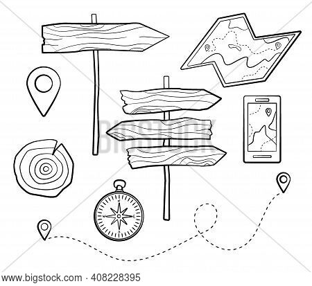 Camping Set. Wooden Pointers, Map And Compass In Minimalistic Doodle Style