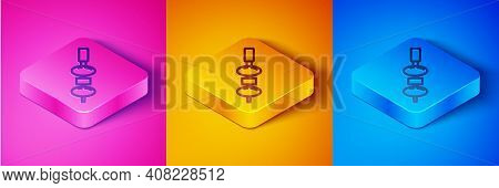 Isometric Line Olive And Cheese On Chopstick Icon Isolated On Pink And Orange, Blue Background. Cana