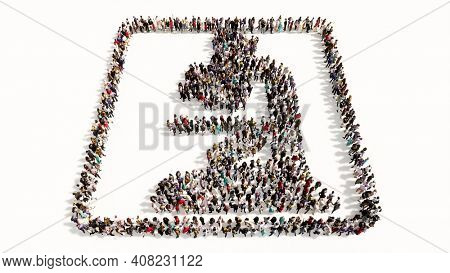 Concept or conceptual large gathering of people forming  a green light microscope image on white background. A 3d illustration metaphor for medicine, research, biotechnology, education or discovery