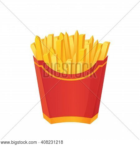 Crispy French Fries In Paper Red Box. Fastfood, Junk Food Concept. Can Be Used As Mockup. Stock Vect