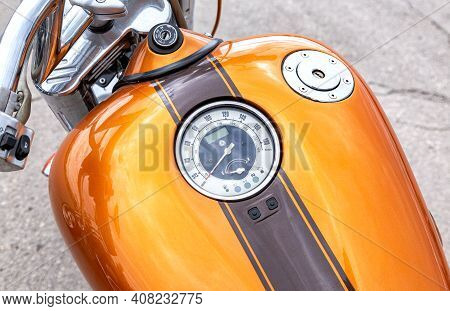 Samara, Russia - May 18, 2019: Speedometer And Fuel Tank Of A Motorcycle Close-up