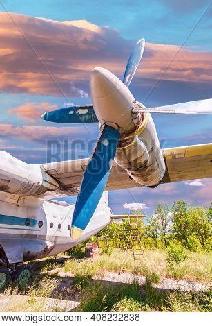 Samara, Russia - May 25, 2014: Turbines Of Turboprop Aircraft An-12 At An Abandoned Field Aerodrome