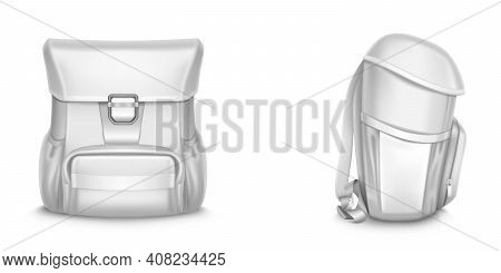 Back Pack Vector 3d Mockup, Kids Backpack, School Bag Front And Side View, Blank Student Rucksack, W