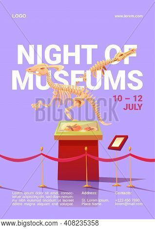 Night Of Museums Poster. International Event For Remain Open Late Into Night Exhibitions. Vector Car