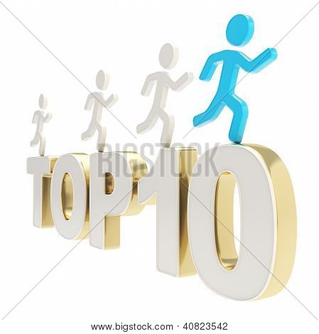Human Running Symbolic Figures Over The Words Top Ten