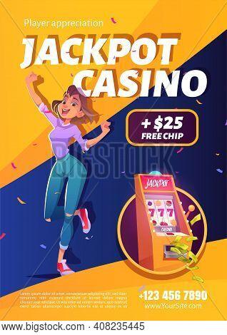 Slot Machine Jackpot Casino Win Ad Poster. Lucky Woman Celebrate Winning Prize Jumping At Money Fall