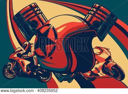 Motorcycle Helmet Icon. Illustration Of Motorbike Or Motorcycle Helmet Vector Icon